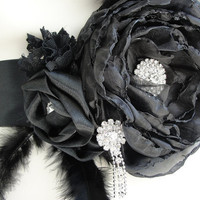Excellent Design Black Wedding Gown Belt With Crystal by mucar