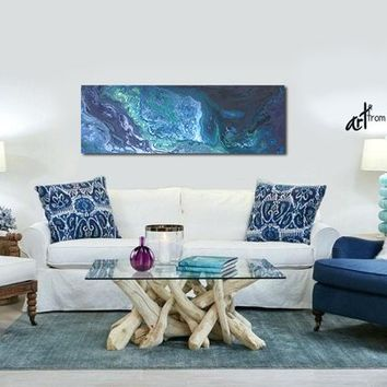 Teal blue gray abstract canvas art, Wide panoramic print for bedroom wall art, living room, or office decor