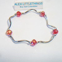 Red Wavy Link Stretch Bracelet Faceted Beaded Jewelry Fashion Accessories For Her