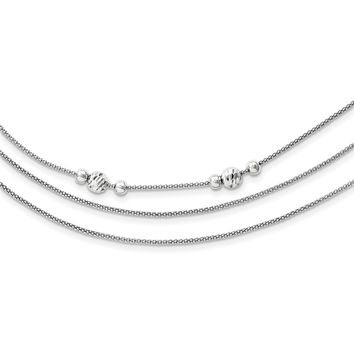 Sterling Silver 3 Strand D/C Bead Polished Fancy Necklace QG3778