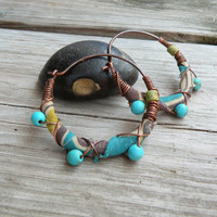 Silk Road Gypsy Hoop Earrings, Medium, Turquoise and Olive Green, Wire Wrapped, Beaded