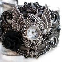 Gothic Cuff Watch  Silver wings and hearts  black rose by Aranwen