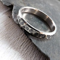 hammered silver ring polished sides domed ring band 3mm wide rustic wedding ring handmade mens ring engagement ring