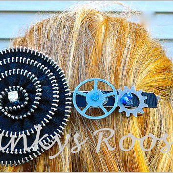 Steampunk Barrette Zipper Flower, What is this thing? Crazy Black Extra Large Hair Clip, Rock and Roll Bride, Alternative Wedding, Cosplay