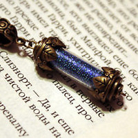 Hogwarts Ravenclaw House Points Glass Vial Bottle Pendant Necklace Harry Potter
