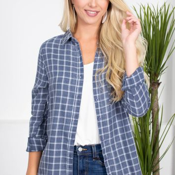 Easy Soft Plaid Top | Blue