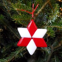 Star Christmas Ornament, Handmade Fused Glass, Red and White, 3 Inch