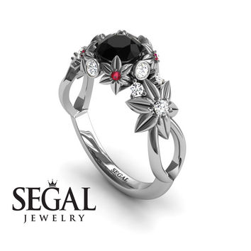 Unique Engagement Ring 14K White Gold Flowers And Branches Art Deco Edwardian Ring Black Diamond With White diamond - Katherine