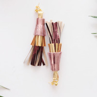 PINEAPPLE 5 / Layered leather tassel earrings / Ready to ship