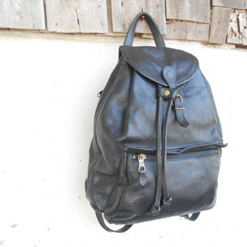 Vintage Authentic IL Bisonte Black Leather Backpack // Medium // Made in Italy