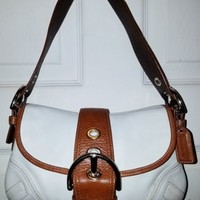 COACH Leather Soho Flap Hobo Bag Style F10188 white Brown Leather