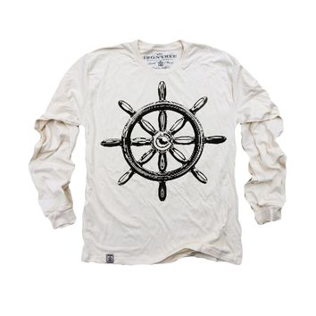 Captain's Ship Wheel: Organic Fine Jersey Long Sleeve T-Shirt in Unbleached Natural