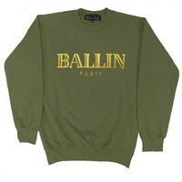 BRIAN LICHTENBERG Green Ballin Sweatshirt with Gold Foil, CL OF THE K POP GROUP 2NE1 IN ANOTHER Brian Lichtenberg BALLIN SWEATSHIRT!