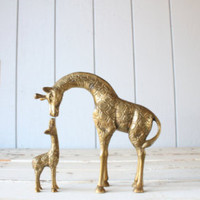 Vintage Collectible - Brass Mother and Baby Giraffe