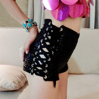 Sequin Lace Up Shorts