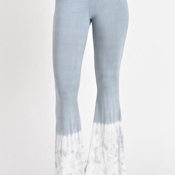 Light Gray and Ivory Tie Dye Flare Pants