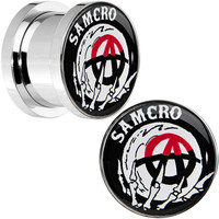 "1/2"" Surgical Steel Sons of Anarchy Skull Hand SAMCRO Screw Fit Plug Set 
