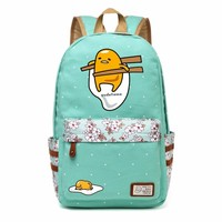 Gudetama Lazy Egg Cartoon Canvas bag Flowers wave point Rucksacks backpack Girls School Bag travel Shoulder Bag bookbag women