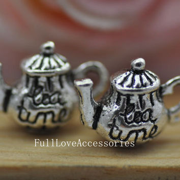 10pcs 7x13x15mm Antique Silver Lovely 3D  Teatime Teapot Charm Pendant