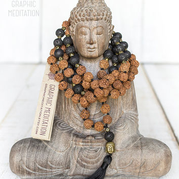 Black lava mala, Long yoga mala, Rudraksha mala beads, Black lava mala necklace, 108 meditation beads, Lava rosary, Black tassel mala