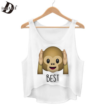 Dingtoll New Cute Monkey Emoji Crop Top Harajuku Kwaii Best Friends Forever Summer Funny Femme Tops  WCT27