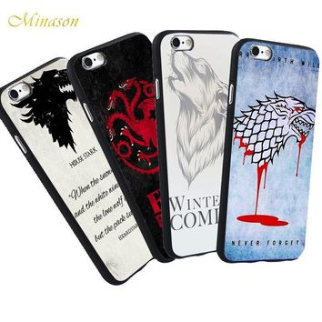 Minason For iPhone X 8 5 S 5S SE 7 Plus 6 6S The Game of Thrones Case Jon Snow Wolf Head Quotes Phone Black Silicone Soft Case