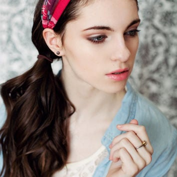 Turban,twisted ,bohemian headband, hair band,head wrap in soft plaid fabric.