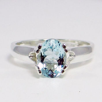Aquamarine Oval Ring, 925 Sterling Silver, March Birthstone Ring, Natural Aquamarine Oval Ring, Blue Aquamarine Ring