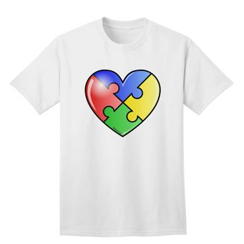 Big Puzzle Heart - Autism Awareness Adult T-Shirt by TooLoud