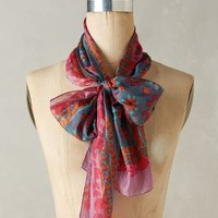 Pintura Skinny Silk Scarf by Anthropologie in Purple Motif Size: One Size Scarves