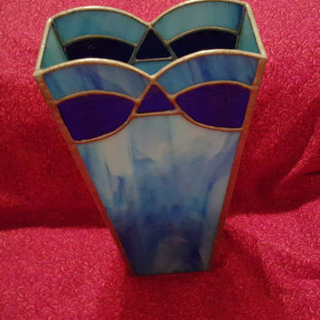 Stained Glass Vase With Light Baby Blue and Dark Blue Tone And a Silver Tone Trim