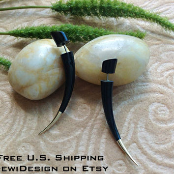 "Fake Gauge Earrings, ""Silver-Tipped Spikes"" Hand Carved, Horn, Naturally Organic, Tribal Style"