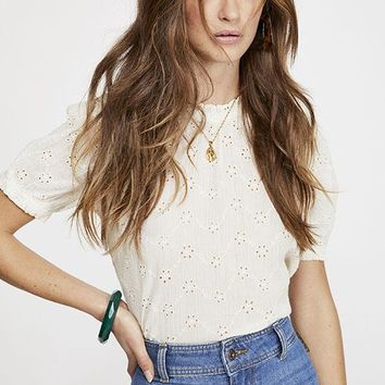 Free People - White Letters To Juliet Mid Sleeve Top
