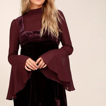 Counting Stars Plum Purple Velvet Long Sleeve Babydoll Dress