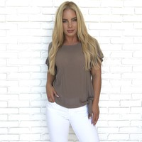 Anything But Ordinary Mocha Ruffle Top