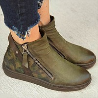 Fashion camo single boots for women autumn/winter low buckle Martin ankle boots