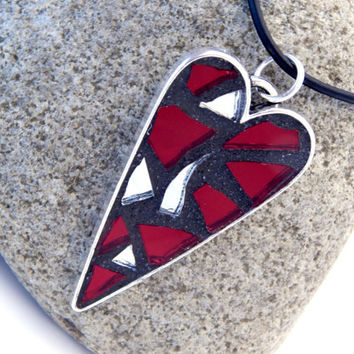 Necklace With Mosaic Heart Pendant, Antiqued Silver Base with Red + Silver Mirror Mosaic on Adjustable 18 to 20 Inch Leather Cord