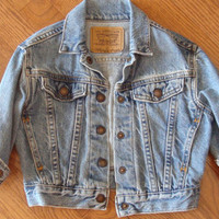 LEVIS DENIM JACKET kids vintage 1980s 23t by CherryBombVintage77