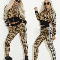 Fendi New fashion more letter print long sleeve top coat and pants two piece suit