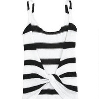 Stripe Twist-Back Tank - Black