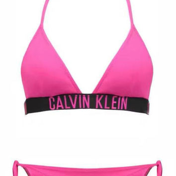 Calvin Klein Halter Triangle Beach Bikini Set Swimsuit Swimwear