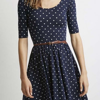 Polka Dot Scoop Neck Half Sleeve A-Line Mini Dress
