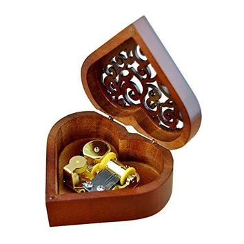 Heart Shaped Vintage Wood Carved Mechanism Musical Box Wind Up Music Box Gift For Christmas/Birthday/Valentine's day, Melody Happy Birthday to You