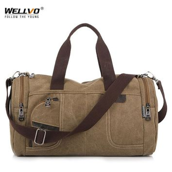 Wellvo Men Travel Bags Canvas Durable Multifunction Handbag Luggage Vintage Duffle Tote For Male Large Shoulder Bag XA67WC