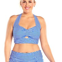 Always For Me Neptune Striped Plus Size Bikini