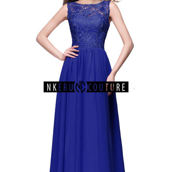 Real Image Burgundy Royal Blue  A Line Lace Long Prom Dress Party Dress QU222