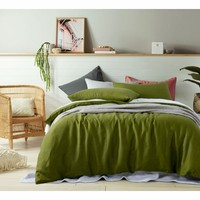100% Linen Mossy Green Quilt Cover Set by Accessorize