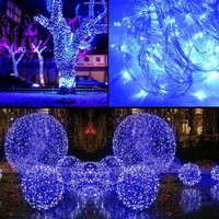 10M 100 LED Blue Lights Decorative Christmas Party Festival Twinkle String Lamp Bulb With Tail Plug 110V