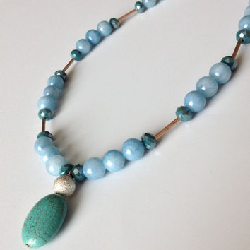 Turquoise Pendant and Light Blue Agate Necklace