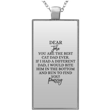 Funny Father's Day Gift For Dad From Wife, Daughter, Son, Stepdaughter, Stepson, Mom, Grandma, Mother In Law (UN4682 Rectangle Necklace)